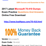 [100% Pass Rate] 2017 New Microsoft 70-410 Dumps PDF Training Resources And Youtube Update Free Demo