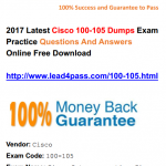 [100% Pass Rate] The Best Cisco 100-105 Dumps Exam Questions And Youtube Demo Free Update