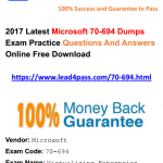 [100% Pass Rate] Latest Microsoft Specialist 70-694 Dumps Exam Materials And Youtube Demo Free Update