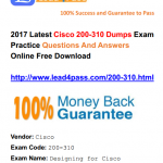 [100% Pass Rate] Helpful Latest Cisco CCDA 200-310 Dumps Exam Files And Youtube Demo Free Shared
