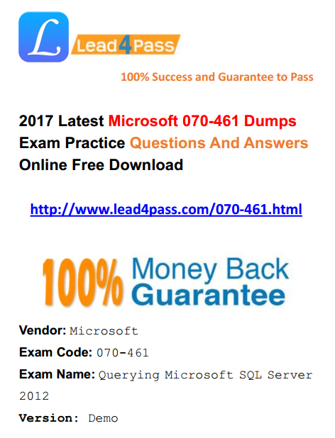 [100% Pass Rate] New Microsoft Business Intelligence 70-461 Dumps Exam Practice Update Youtube Free Shared
